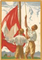 SUIZA ENTERO POSTAL 1929 FIESTA NACIONAL BANDERA MAT AMBULANT - Fiestas