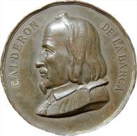 ESPAÑA. MEDALLA CENTENARIO DEL ESCRITOR PEDRO CALDERÓN DE LA BARCA. 1.881. ESPAGNE. SPAIN - Profesionales/De Sociedad