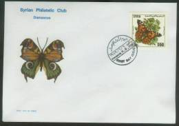 SYRIA,FDC, First Day Of Issue ,Butterflies,6-6-1989 ,No.1A,FDC,Cover. - Syrie