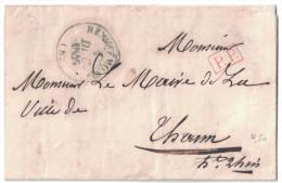 1846 LAC En PORT PAYE (PP Rouge) Avec CACHET MAIRIE De REMIRECOURT Vosges Pour Thann Haut Rhin - 1801-1848: Précurseurs XIX