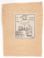 """EX LIBRIS---Pierre SEDILLE----Dessin   """"Lecteur Et Joker  (ou Fou Du Roi)"""" - Ex-libris"""