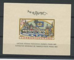 TCHECOSLOVAQUIE:BLOC - EXPO PHIL. DE PRAGUE 1962-  N° Yvert  21a NON DENTELÉ (*) - Blocks & Sheetlets