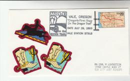 1993 VALE USA OREGON TRAIL  ANNIV EVENT COVER Horse Label Stamps - United States