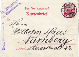 N2866 Kartenbrief DR St. Zeitz N. Nürnberg - Allemagne