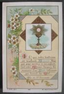 IMAGE PIEUSE MOREL N° 957 (chromo Fin XIXème): 1ère COMMUNION CALICE, TEXTE & FLEURS BLANCHES SANTINO - Andachtsbilder