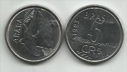 Brazil  5 Cruzeiros Reais 1993. Unc - Brésil