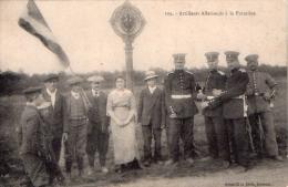 Cpa  Artilleurs  Allemands  A  La  Frontiere  (tres Belle Carte Animee ) - Guerre 1914-18