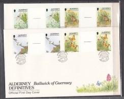 Alderney 1994,4V In Gutterpair On FDC,birds,vogels,butterflies,vlinders,flowers,bloemen,Used,(L1722) - Vogels