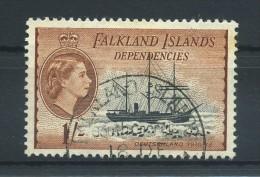 FALKLAND  ISLANDS  DEPENDENCIES   1954     1/-  Black  And  Brown       USED - Falklandinseln