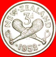 ★WEAPON: NEW ZEALAND ★3 PENCE 1952! LOW START★NO RESERVE!!! George VI (1937-1952) - Nouvelle-Zélande