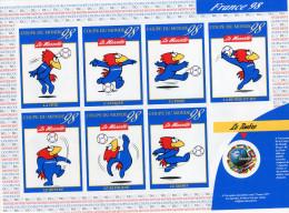"""""""Officiel"""" - Feuillet Numéroté-coupe Du Monde 98-football 7 Vignettes Adhésives Différentes Et Timbre  Neuf Aussi - Commemorative Labels"""