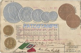 17812 ITALY ART EMBOSSED COIN AND FLAG POSTAL POSTCARD - Sin Clasificación