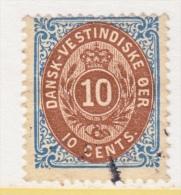 DANISH  WEST  INDIES  10 C   (o)   INVERTED  FRAME - Denmark (West Indies)