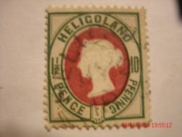HELIGOLAND, SCOTT #17b, 10 PF LIGHT GREEN & PALE RED, USED - Helgoland