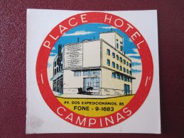 MISC HOTEL MOTEL INN HOUSE PALACE CAMPINAS BRAZIL BRASIL LUGGAGE LABEL ETIQUETTE KOFFER AUFKLEBER DECAL STICKER - Etiquettes D'hotels