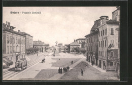 Cartolina Modena, Piazzale Garibaldi, Strassenbahn, Pferdekutsche - Modena