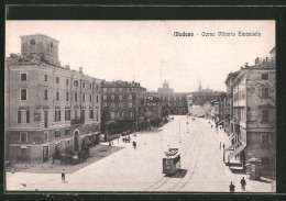 Cartolina Modena, Corso Vittorio Emanuele, Strassenbahn - Modena