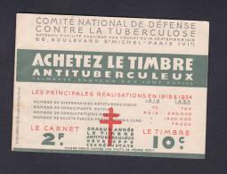Carnet 20 Timbres Antituberculeux 1934 Calmette Vaccin Pub Nestle Heudebert Chocolat Suchard Lait Pasteurise - Commemorative Labels
