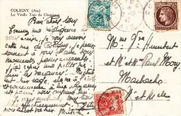 Carte Postale Affr Y&T 681 Obl COLIGNY Du 12.10.47 Taxée 2 + 3 F Du 15.10.47 - Portomarken