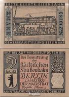 Berlin Notgeld: 92.3 Notgeld Berlin 5. 1869 Erste Elektrische Eisenbahn Bankfrisch 1922 2 Mark Berlin Straßenbahngeld - Lokale Ausgaben