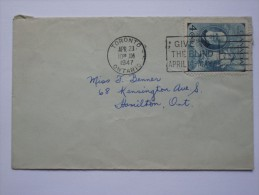CANADA 1947 COVER WITH ALEXANDER GRAHAM BELL STAMP TORONTO TO HAMILTON WITH SLOGAN POSTMARK - 1937-1952 George VI