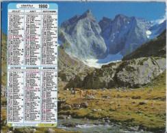Calendrier Des Postes 1990  01 Ain - Calendars