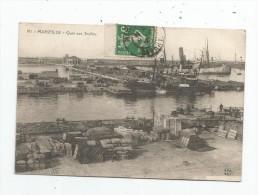 Cp , 13 , MARSEILLE , Quai Aux SOUFRES , Voyagée 1912 , Port , Bateaux - Marseilles