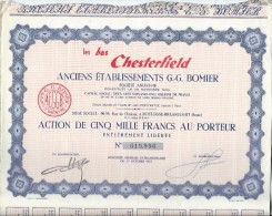 Action De 1000 Francs Au Porteur/Les Bas Chesterfield/Boulogne Billancourt//1957    ACT88 - Afrique