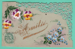 CARTE EN CELLULOID PEINTE MANUELLEMENT - AMITIES - Fancy Cards