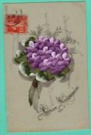 CARTE EN CELLULOID PEINTE MANUELLEMENT - HEUREUX ANNIVERSAIRE - Fancy Cards