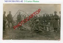 NEUFCHATEL SUR AISNE-AVION Abattu-Pilote-Aviation-Flugzeug-Aircraft-2x CARTES PHOTOS All.-Guerre14-18-1WK-Militaria-Fran - Frankrijk
