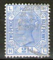 GB 1881: 2 1/2 D Blue, Pl. 21, Wmk. Crown, Used, Corner Letters LH/HL, S.G. Special: J 23 - 1840-1901 (Victoria)