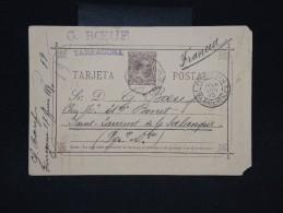 ESPAGNE -Entier Postal De Tarragonne Pour La France En 1890 - à Voir - Lot P9640 - Interi Postali