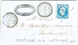 N° 14 Obl PC Cachet LAROQUE D' OLMES Arriege Du 26 Et 27 Mai 1858 ( APRES LE DEPART ) Lettre En Double Port Local - Postmark Collection (Covers)