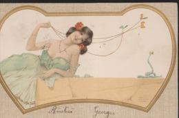 CPA:Kirchner:Fables:Femme Aux Papillons Et Serpent:Au Verso Timbre St Etienne - Kirchner, Raphael