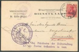 10 Pfg Obl. Dc Postüberwachungsstelle* 33 Sur Carte De Service  De St GILLIS (WAES) Le 6-7-1917 Vers Vracene (Lokeren) - Guerre 14-18