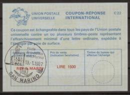 SAN MARINO International Reply Coupon Reponse Antwortschein IAS IRC  La25E  LIRE 1500  O SAN MARINO 13.1.87 - Interi Postali
