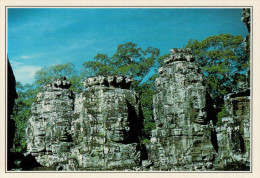 CAMBOGIA-ANGKOR:   TORRI  DAI  VISI  UMANI A BAYON        (NUOVA CON DESCRIZIONE DEL SITO SUL RETRO) - Cambogia
