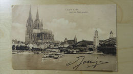 Postcard Postkarte Germany Deutschland Köln Cöln Dom Vom Rhein Touristboat - Postzegels