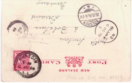 1899  Postcard E P  1 1/2 Penny  From New Zealand  Canc. DUNEDIN  ( Transit Bluff Et Colombo ) - Lettres & Documents
