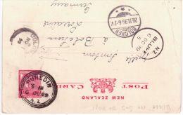 1899  Postcard E P  1 1/2 Penny  From New Zealand  Canc. DUNEDIN  ( Transit Bluff Et Colombo ) - 1855-1907 Colonie Britannique