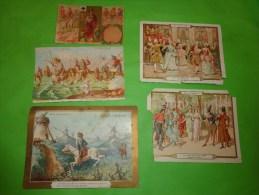 Chromo-jeux De Cartes N°8 Trois Rois Qvinte- Menu Au Dos-don Quichotte-costume En 1800 Et 1700-la Peche Humour - Non Classés