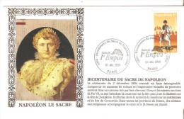 FDC BICENTENAIRE DU SACRE DE NAPOEON CHEVAL SALON DU 1° EMPIRE 04/12/2004 PARIS - FDC
