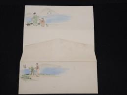 JAPON - Enveloppe + Papier à Entete - Peinte à La Main - Style Valentine-  à Voir - Lot P9664 - Covers & Documents