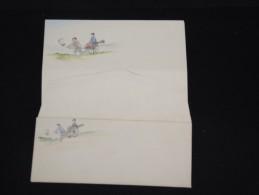 JAPON - Enveloppe + Papier à Entete - Peinte à La Main - Style Valentine-  à Voir - Lot P9666 - Covers & Documents