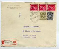 Belgique Lettre Recommandée De Bruxelles Pour Braine-le-Comte - 1936-1957 Col Ouvert