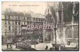 CPA Caen Eglise Et Place St Pierre - Caen