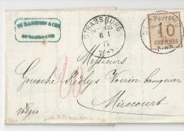 Guerre De 1870, Poste Cantonale, 10 Centimes Alsace Lorraine - Alsace-Lorraine
