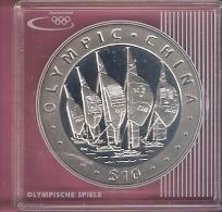 BRITISCH VIRGIN ISLANDS $10,- 2008 AG PROOF OLYMPICS BEIJING SAILING SHIPS - Iles Vièrges Britanniques
