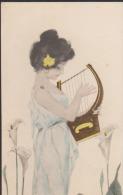 CPA:Kirchner : Femme à La Harpe - Kirchner, Raphael